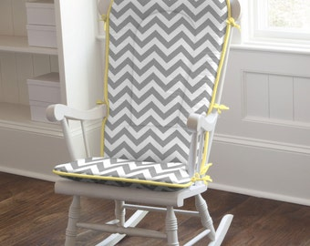 Gray and Yellow Zig Zag Rocking Chair Pad by Carousel Designs