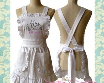 Ships in 7 Days Custom Embroidered Bride to Be White Ruffle Apron Bridal Shower Gift
