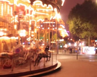 Paris Photography, Carousel in Paris, French Travel Photograph, Holidays in Paris, Wall Decor, Nursery Art, Bokeh Art, Dreamy Photo