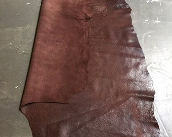 DISCOUNTED Genuine lambskin leather in Full Hides of dark brown with a rustic finish FS881-4