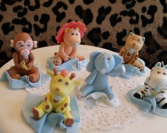 cute baby animal jungle baby shower jungle cake topper