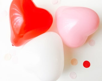 Heart Balloons - 6 inch - Red, Pink, White - Set of 6