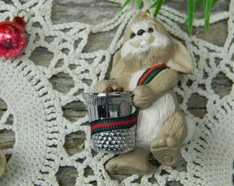 Vintage 1987 Hallmark Bunny Rabbit Thimble Christmas Ornament
