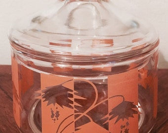 GREAT 70s Orange and White Glass Container with Matching Lid!