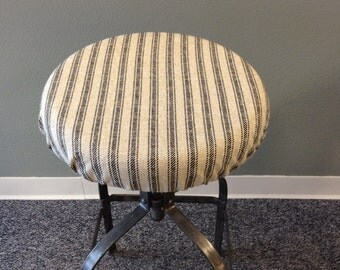 French Ticking elasticized round barstool cover, kitchen stool seat cover, Cottage Chic, Vintage Farmhouse, French Industrial, washable