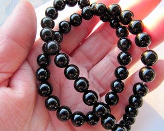Gemstone Beads Black Agate, Round, 8 MM, 16 Inch Strand, 48 Beads, Shiny Black, Jewelry Beads, Beading Supplies