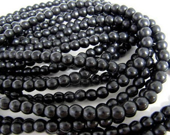 Turquoise Bead Strand, Synthetic, Black, Dyed, Round, 4 mm, 100 Piece Strand, Sale, Jewelry Supply