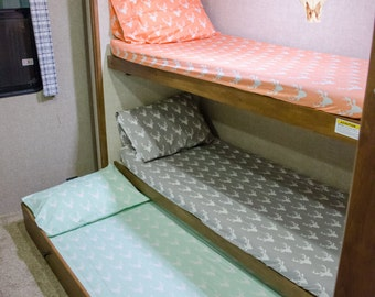 Fitted Bunk Sheet - Camper - RV - Travel Trailer - 5th Wheel - Glamping - Bunk House - Camping - Sheets