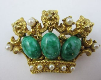 Vintage Costume Crown Brooch with Faux Pearls and Faux Jade