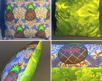 """pillowcase """"Pineacolypse"""" with green silk backing"""