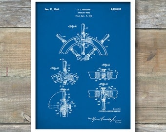 Patent Posters, Ship Steering Wheel, Nautical Decor, Ship Wheel, Nautical Wall Art, Boat Decor, P354