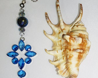 Unique Blue Crystal, Ceiling Fan Chain Pull,  Handcrafted and Ready to Ship, Blue Room Decor