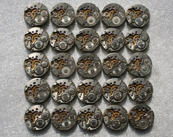 "5/8"" .  25  Similar  Vintage Soviet Watch movements , steampunk parts"