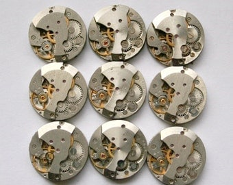 "6/8"" . Set of 42   Vintage Soviet Watch movements , steampunk parts"