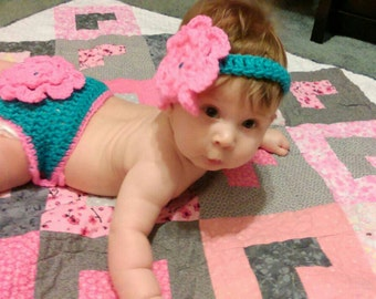 Crochet flower diaper set, 2pc set with matching headband, 2pc flower diaper set, crochet flower, newborn photo prop, photography prop