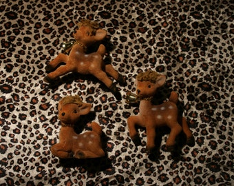 Set of 3 Fawn Figurines / Christmas Decoration
