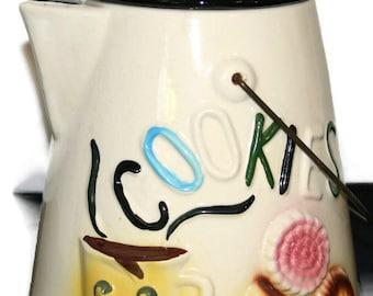 Cookie Jar-1950s Vintage Cookie Jar-Made in USA-1950's Cookie Jar-Coffee Pot Cookie Jar-American Bisque Cookie Jar-Cookie Jar with Lid