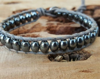Leather Wrap Bracelet With Hematite Beads On Natural Gray Leather