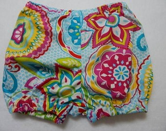 bloomers for little girls **** bright flowers on blue and white polka dot diaper cover for girls