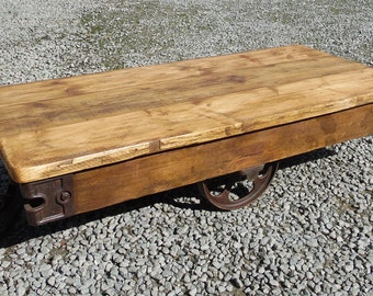 Trolley Coffee Table - Industrial Table, upcycled, industrial, coffee table