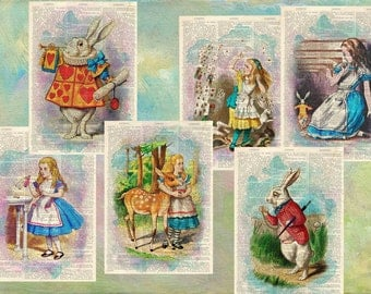 Set of 6 Alice in Wonderland Dictionary Print Vintage Book Page Upcycled Book Wall Art Dictionary Page Print Wall Decor