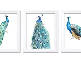 Peacock Wall Art Watercolor Painting Prints Set Of 3 Blue Bird Home Decor Wall Art Home