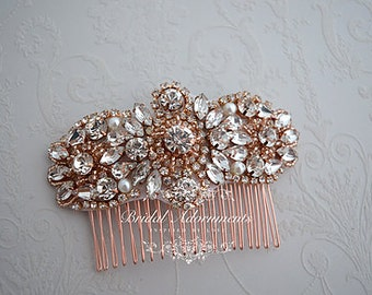 "Rose Gold ""Adelide"" Crystal and Pearl Bridal Comb"