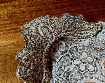 Handbuilt  lace impressed pottery dish