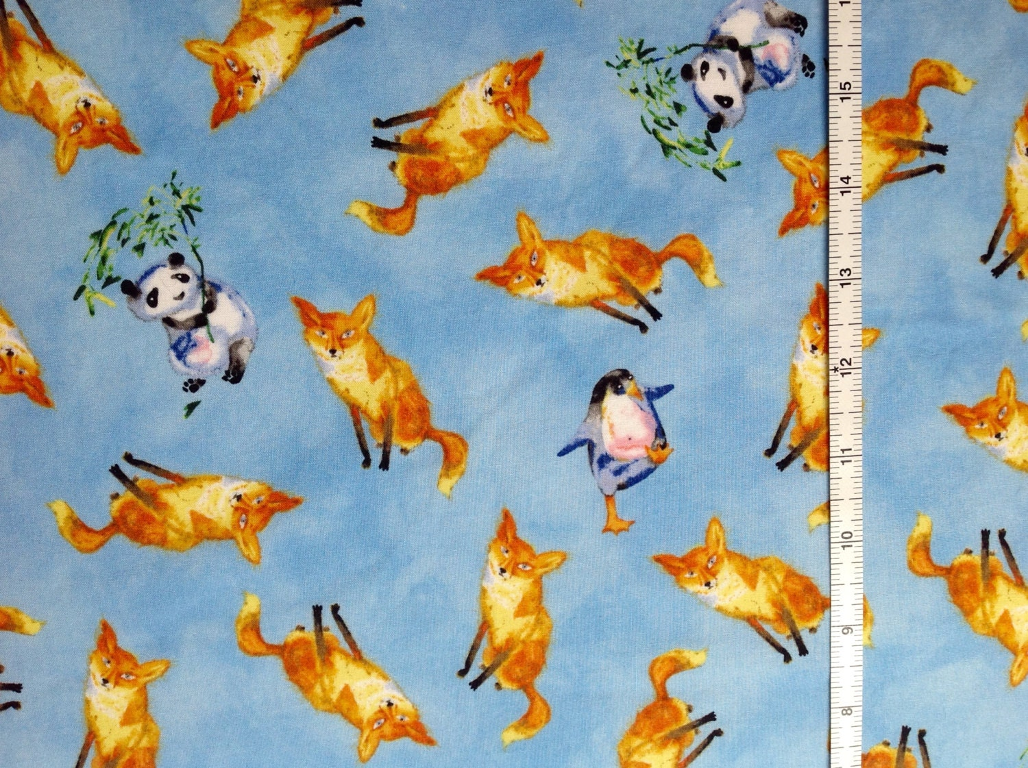 Sale fabric fox panda and penguin fabric clothworks for Childrens fabric sale