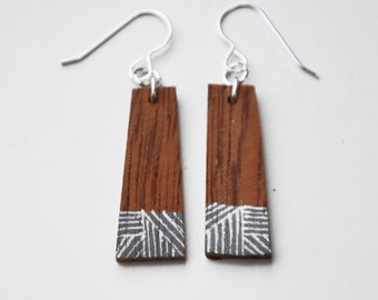 Wooden Geometric Eco Earrings - reclaimed wood and Sterling Silver