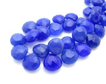 4 Pcs, 9mm, Blue Chalcedony Heart Briolette