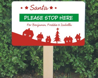 Personalised Santa Stop Here Sign - Christmas Decoration - Personalized Santa Sign - Festive House Design