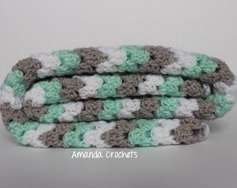 Baby Blanket | Granny Stripe Afghan | Baby Shower | Boy Girl Blanket | Mint, Gray, White Blanket | Crochet Baby Blanket | Boy Girl Nursery