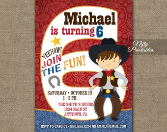 Cowboy Birthday Invitation - 6th Birthday Invitations - Boys 6th Birthday Party Invites - Printable 6 Year Old Cowboy Invitation Rodeo CW1