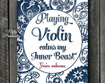 Violin Art - INSTANT DOWNLOAD Violin Print - Violin Poster - Funny Violin Wall Art - Violin Gifts - Paisley Violin Music Decor