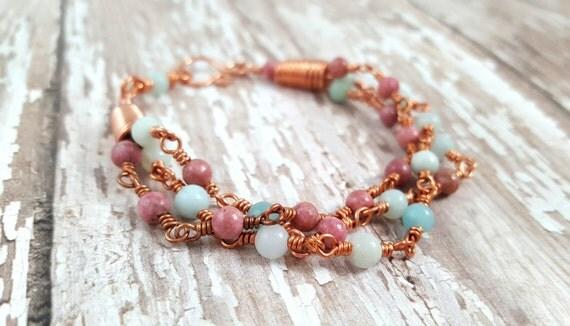 Rhodonite Amazonite Bracelet Mixed Gemstone Bracelet - Copper Wire Wrapped Bracelet - Pink and Blue Bracelet - Multi Strand Bracelet  - Boho