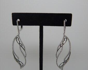Silver Twist Earrings Spiral Earrings , Black  Earrings Sterling Threader Earrings Long Earrings Sterling Silver Earrings