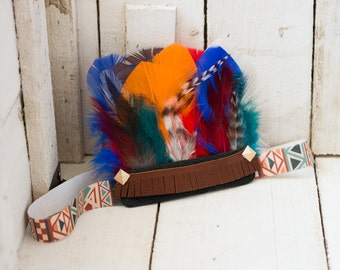 Multi Colored Aztec Feather Headband, Indie Headdress, Feather Crown