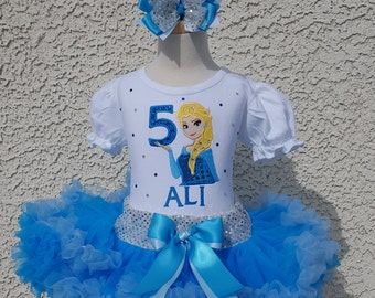 Elsa Frozen Number Pettiskirt -Personalized Birthday Pettiskirt,Sizes 6m - 14/16
