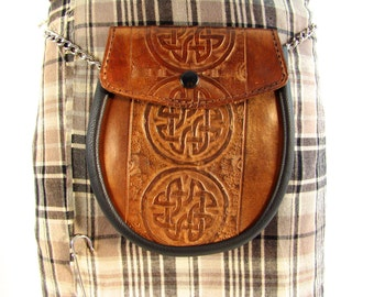 Sporran Leather Circle Celtic Knot Copper Sporran