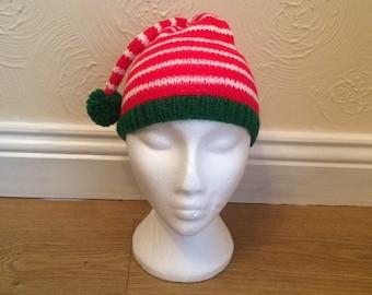 Christmas Hand Knitted Elf Style Prop Hat Newborn Baby/Child/Boys/Girls