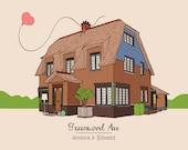 Custom House Portrait Illustration, digital drawing, unique gift ! Housewarming, family drawing, home custom portrait