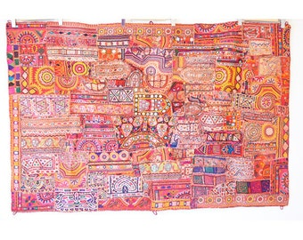 Indian mirror work tapestry (0008) Wall Hanging Tapestry Ethnic tapestry Mirror work India Indian mirror work wall hanging