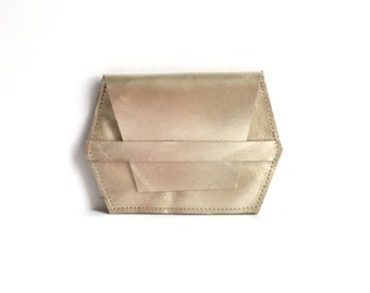 Hex card case in champagne gold