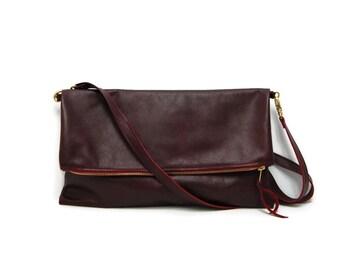 Burgundy crossbody bag and clutch // oxblood fold over clutch