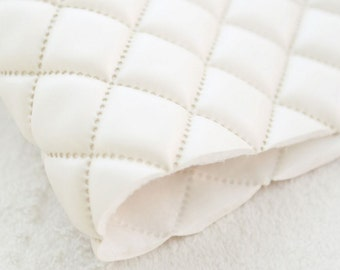 Quilted Faux Leather Fabric Pearl Ivory