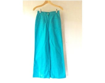 Wide Legged 1970s High waisted Palazzo Pants Size Small S Teal Turquoise Retro 70s Working Girl Front Pockets