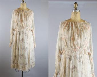 Koos Van Den Akker Vintage 1970s Peasant 2 Piece Skirt Blouse Set