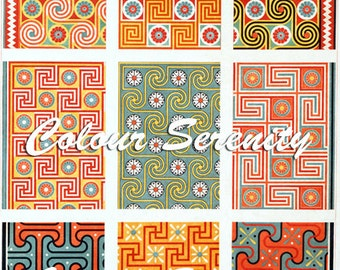 Vintage Patterns 3 Clipart Instant Download 9 images
