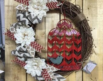 Birdcage Grapevine Wreath